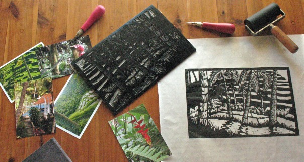 Linocut with Lino Block